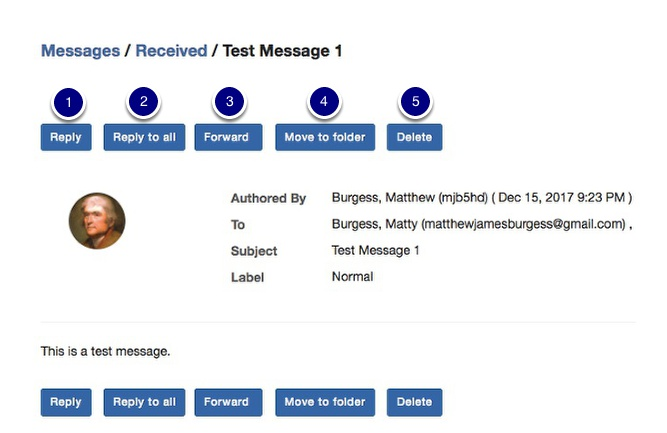 View the message and message options
