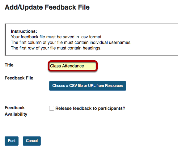 Add/Update Feedback File screen with Title entry area highlighted.