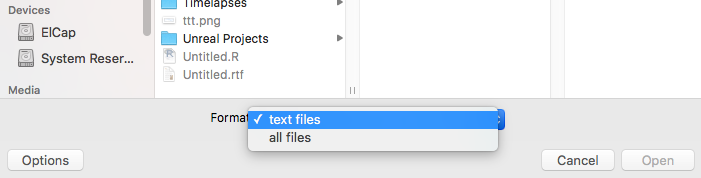 Restrict the files that the user can select