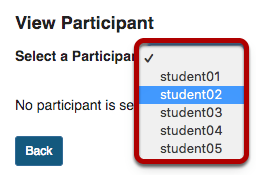 Drop-down menu to select a student by username.