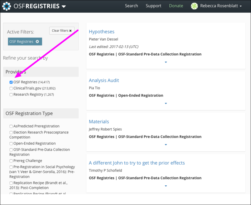 "Select ""OSF Registries"""
