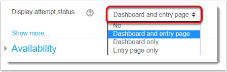Display attempt status is set to Dashboard and entry page
