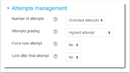 Attempts management settings.