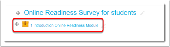 Introduction Online Readiness Module link is selected.