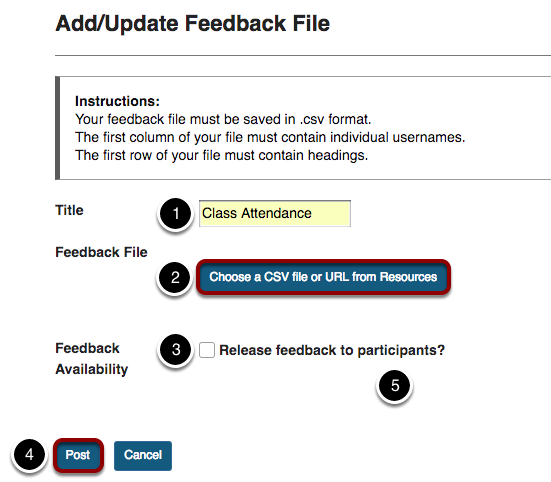 Add/Update Feedback File screen to adjust Title, Feedback File, or Feedback Availability.