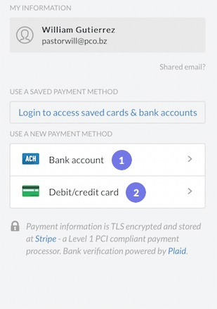 add a payment method to donor profile