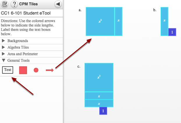 6-101: Drag text and arrows to the display area for labeling!