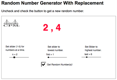 To simulate a dice roll using the Random Number Generator, choose settings indicated below.