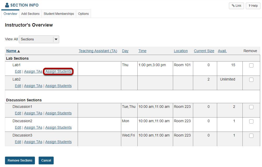 Click Assign Students.