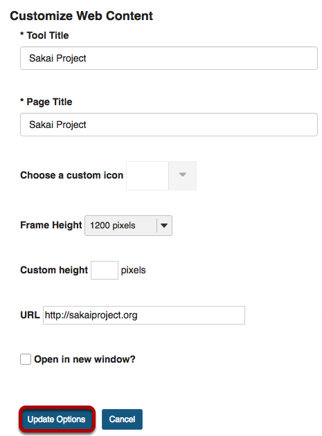 Customize Web Content editing screen with Update Options button highlighted.