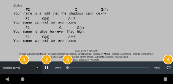 Audio player for one song