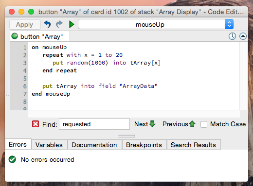 Try to display the array data