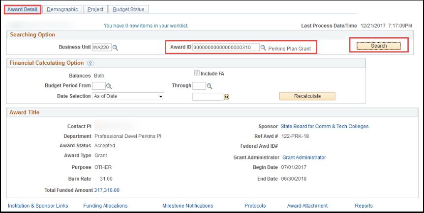 Award Detail tab
