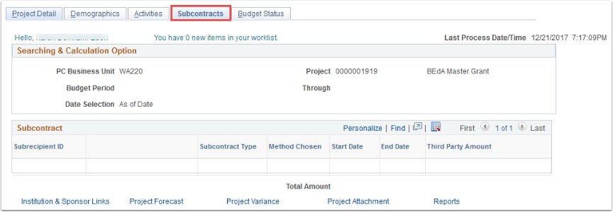 Subcontracts tab
