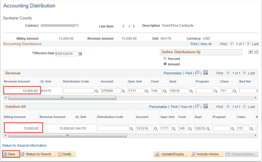 Accounting Distribution page