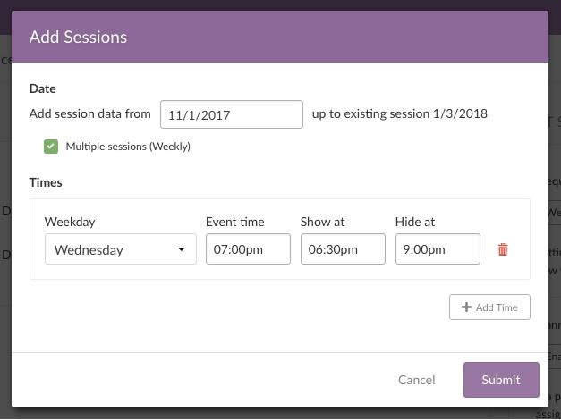 enter session info
