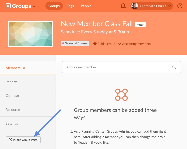 open group page