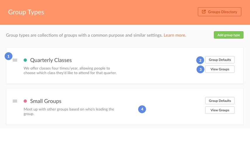 Group Type Page