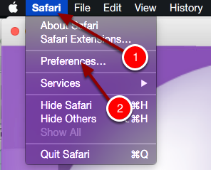 Step 1: Open Safari, Click on Safari then click Preferences.