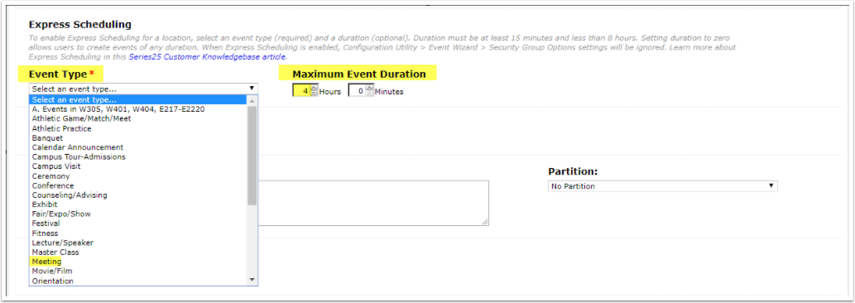 Selecting Event Type and Duration for Express Scheduling