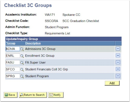 Checklist 3C Groups page