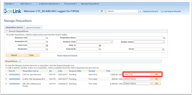 Manage Requisitions