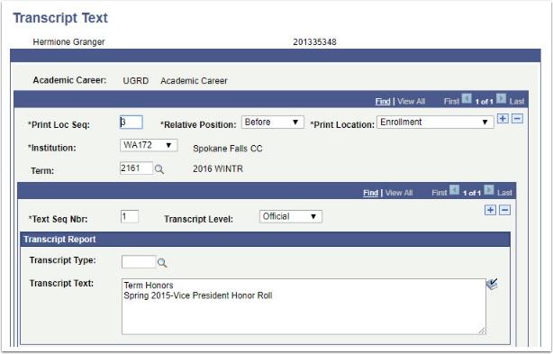 Transcript Text page Before Enrollment