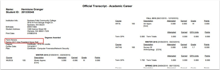 Before Degrees - Local Transcript example