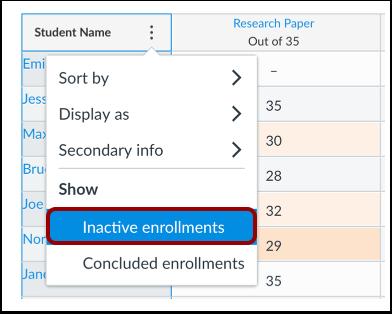 Show Inactive Enrollments