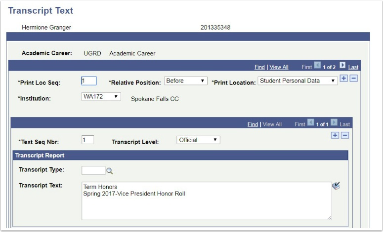 Transcript Text page Before Student Personal Data