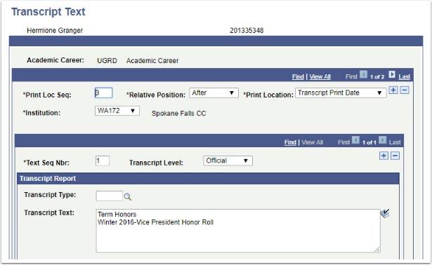 Transcript Text page After Transcript Print Date