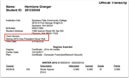 After Student Personal Data Transcript example