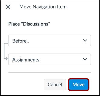 Mover item da navegação