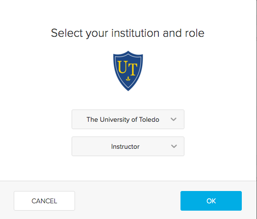 image of the select your institution and role screen