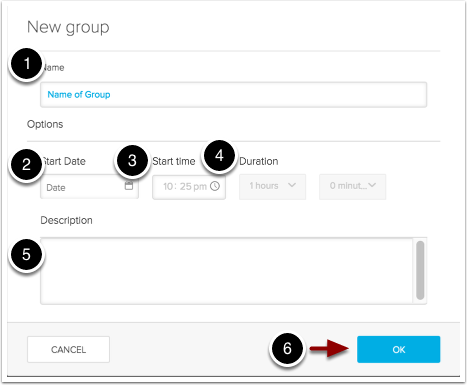 Image of the new group dialog box with the following items: 1.Name: Enter a name for the group. This is the only required item.2.Start Date: Enter a date for when students would have access the content.3.Start Time: Enter the time for when students would have access for the content.4.Duration: Use the dropdown menu to enter the approximate duration for the group.5.Description: Enter a description for the group here.6.When finished, click the OK button to create the group