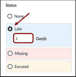 Select Late Status