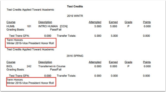 After Transfer Credit -Tests example