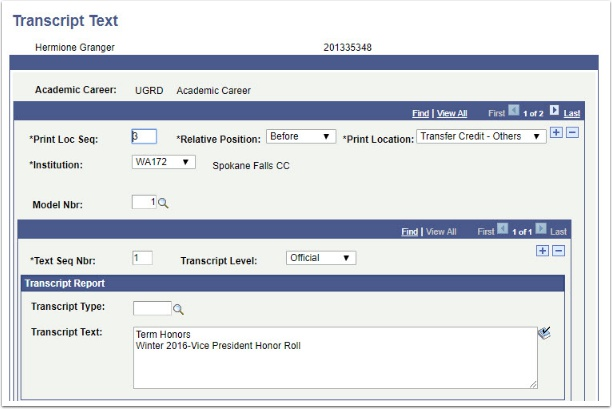 Transcript Text page Before Transfer Credit - Other