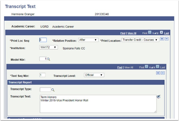 Transcript Text page After Transfer Credit - Course