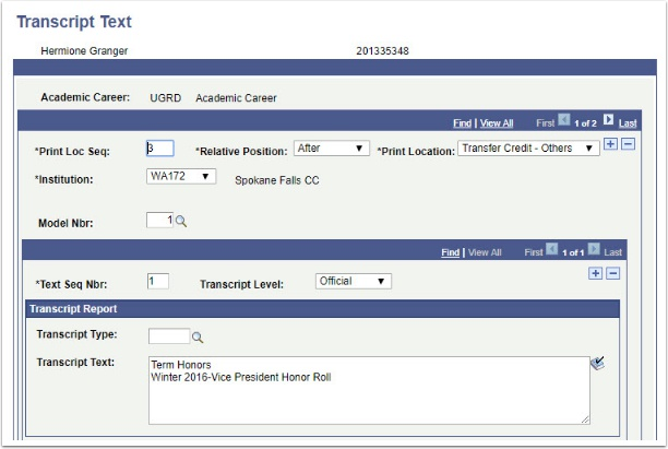 Transcript Text page After Transfer Credit - Other