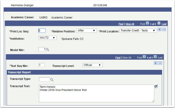 Transcript Text page After Transfer Credit -Tests