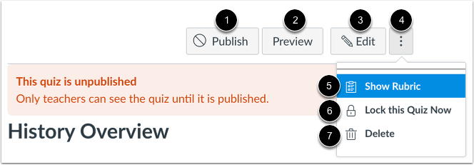 Unpublished Quiz Options
