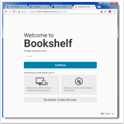 Bookshelf welcome page