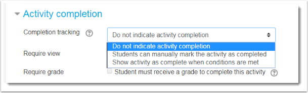 Do not indicate activity completion is selected.