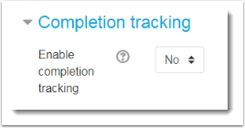 Completion tracking section