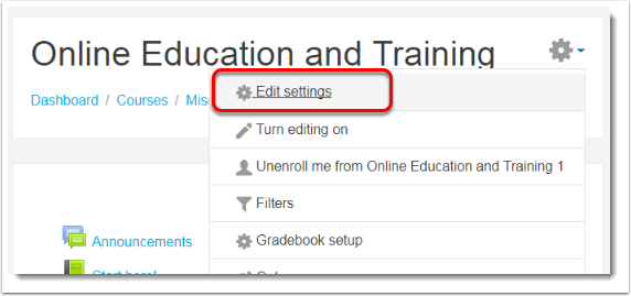 Edit settings link is selected.