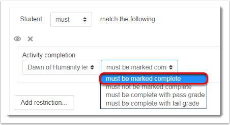 'must be marked complete' is selected.