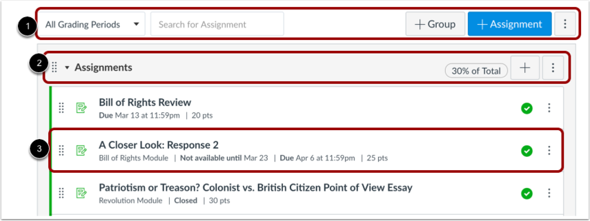 View Assignments Index Page