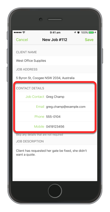 Complete the contact details