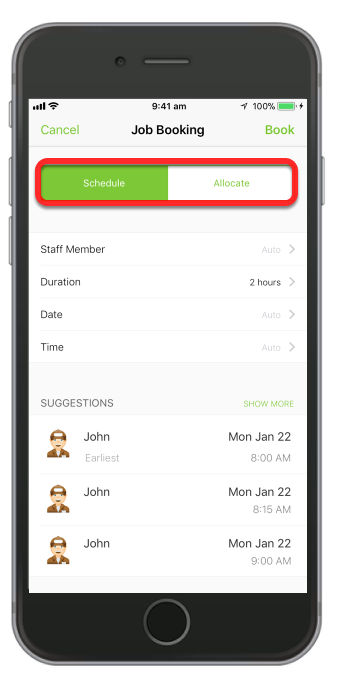 Schedule or Allocate job allows you to assign it to a staff member set duration, time and date. Then tap Book